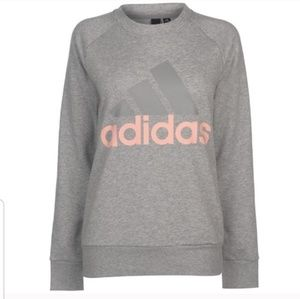 Adidas Gray Pink Crewneck Pullover Sweatshirt G18
